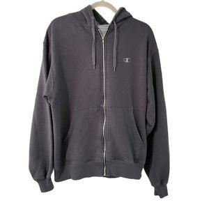 Champion Gray Unisex Logo Oversized Zip Up Hoodie